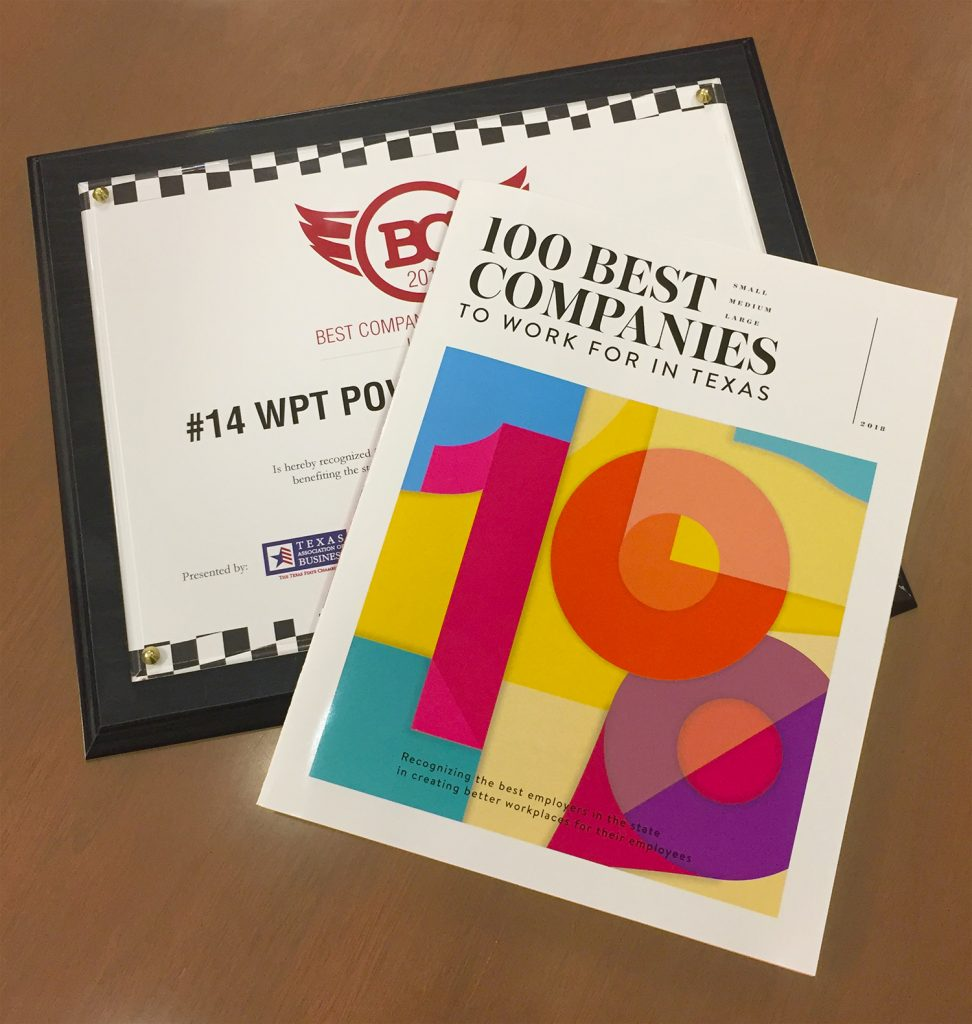 WPT Power 100 best companies award