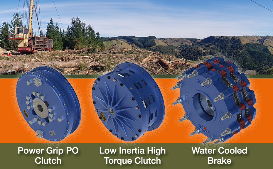 power grip po clutch, low inertia high torque clutch, and water cooled brake
